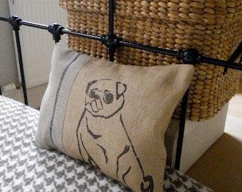 Hand printed natural pug cushion