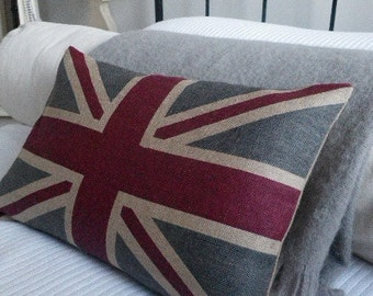 hand made  New  rustic union jack  flag cushion cover