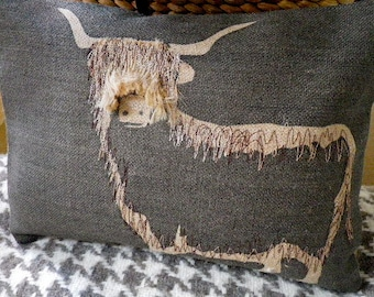new hand printed and appliqued Highland cow cushion