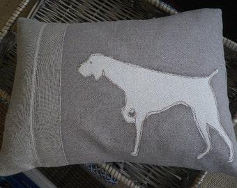 Mink hand printed pointing dog cushion