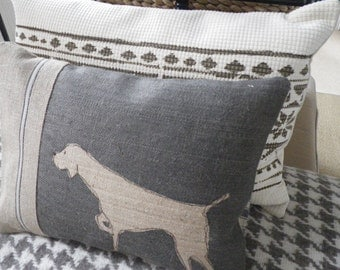 New Charcoal pointing dog cushion