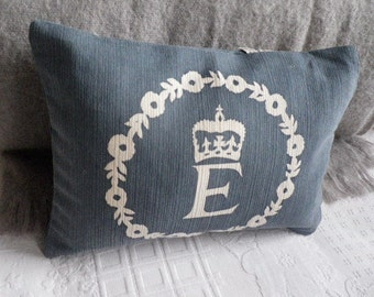 handprinted muted blue commemorative reversible Diamond jubilee cushion