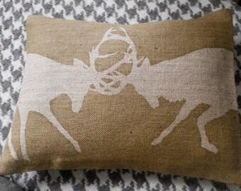 handprinted rustic rutting stag cushion