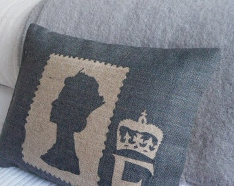 hand printed limited edition commemorative Jubilee stamp cushion