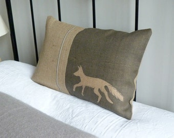 hand printed charcoal  town fox cushion cover