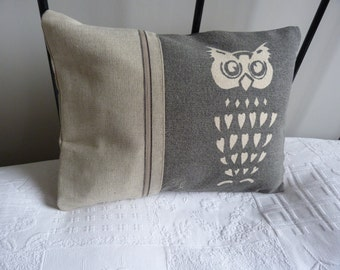 hand printed  soft  reversible charcoal owl cushion