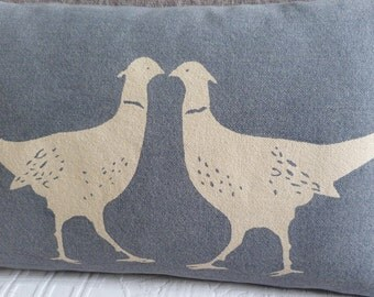 hand printed muted blue kissing pheasants cushion cover