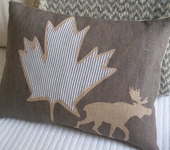 hand printed muted  brown  rustic moose and maple cushion