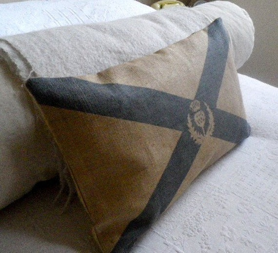 hand printed rustic hessian st andrews flag cushion cover with thistle emblem