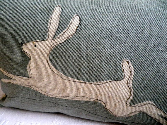 hand printed muted deep eau de nil stitched leaping hare cushion cover