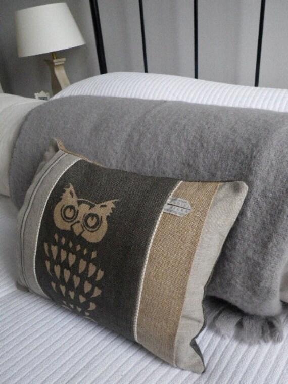 hand printed rustic soft charcoal owl cushion