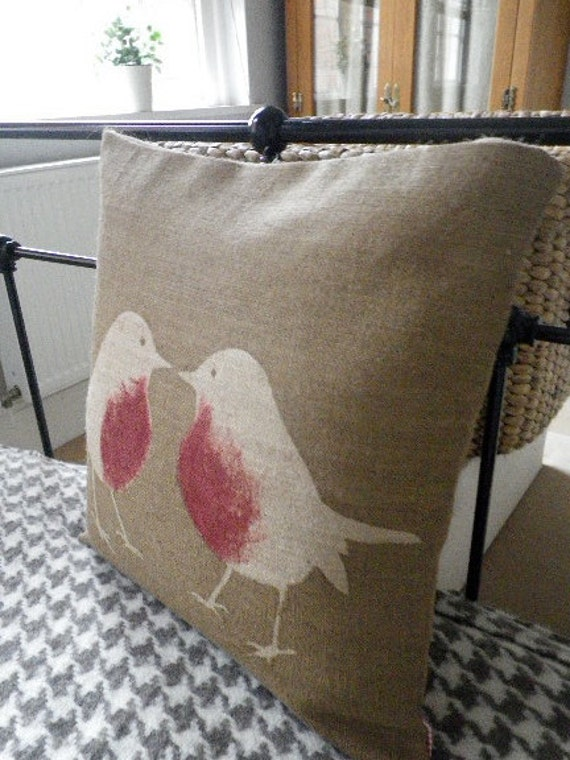 hand printed brown robin cushion cover