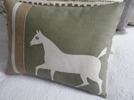 hand printed white chalk horse cushion