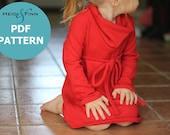 New Cowl Neck Jumper Dress pattern and tutorial PDF 12m-6T EASY SEW tunic dress sweater