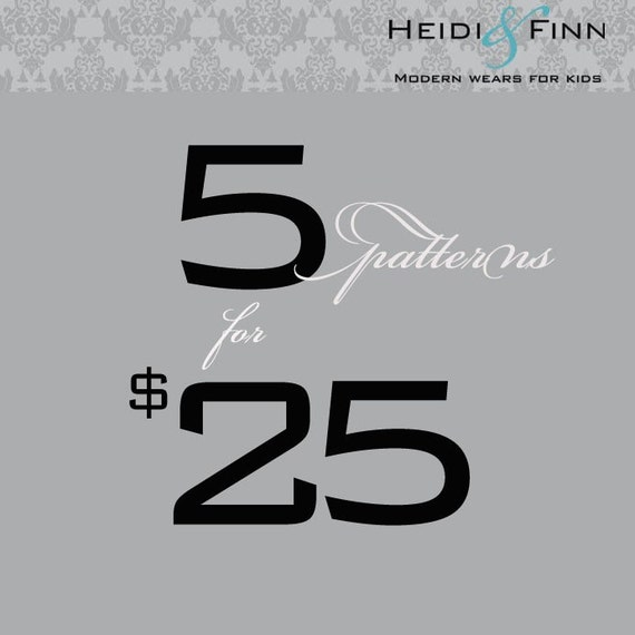 heidiandfinn PATTERN DEAL pick any 5 patterns for 25 dollars SALE
