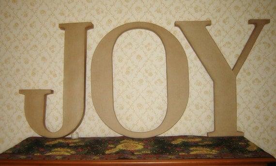 Three 24 letters joy paper mache by timelesstreasurestwo for 24 cardboard letters