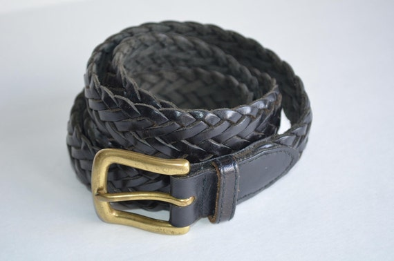 Vintage Black weave leather Wilsons Belt