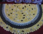 Yellow and Gray Half Circle Petal Rug