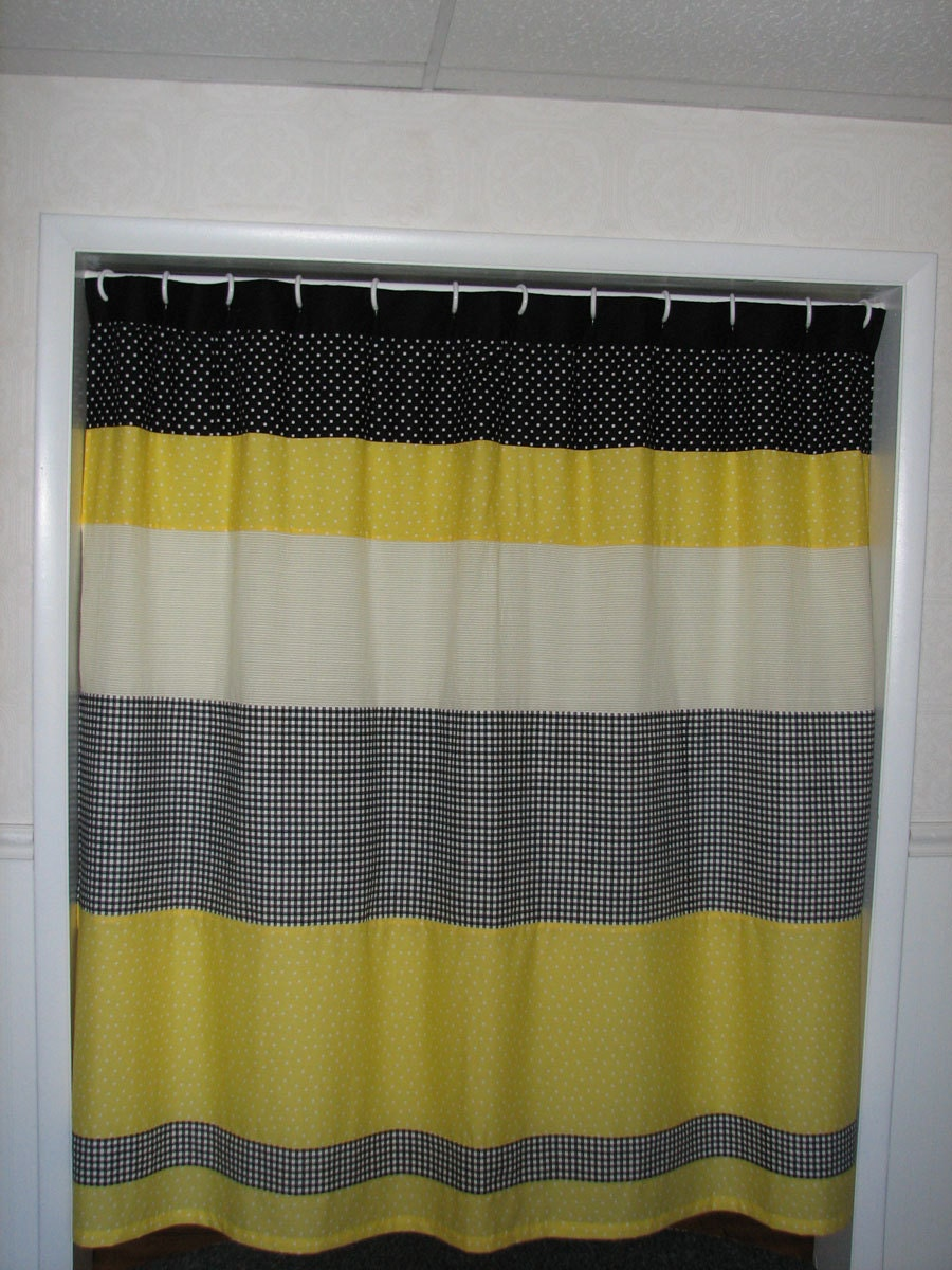 Yellow Curtain With Black Trim