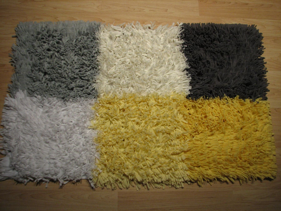 Yellow And Gray Nursery Shag Rug