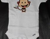 6-9 Month Monkey Gerber Cotton Onsie