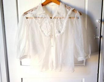 SALE crystal sheer blouse M
