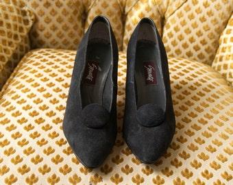 black suede button pumps 7