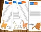Personalized Cat plus Pattern Notepads - Custom Kitty Pads Orange Pattern Set