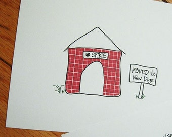 Moving Announcement New Digs Dog Lovers Design - Set of Flat Cards