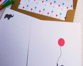 Child Personalized Stationery Elephant Design - Set of 8 Foldover Notes