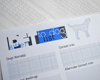 Pet Sitter To Do(g) Notepad Checklist