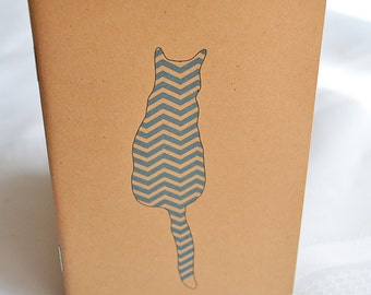 Little Notebooks Kraft Chevron Cat - Set of 2 Pocket Notebooks