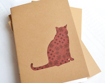 Little Notebooks Kraft Brocade Cat - Set of 2 Pocket Notebooks
