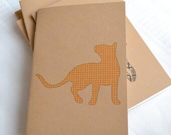 Little Notebooks Kraft Gingham Cat - Set of 2 Pocket Notebooks
