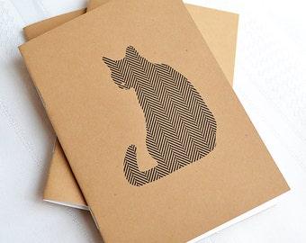Little Notebooks Kraft Herringbone Cat - Set of 2 Pocket Notebooks