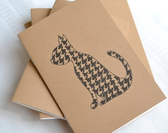 Little Notebooks Kraft Houndstooth Cat - Set of 2 Pocket Notebooks