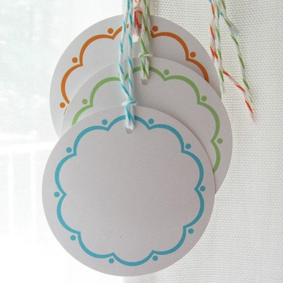 Canning Tags - Scallop Design in Fresh Colors Set of 12