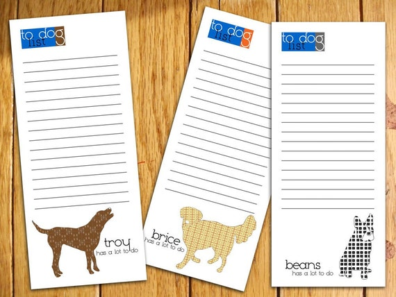Combination Dog Personalized Notepads -- To Dog List Custom Breed