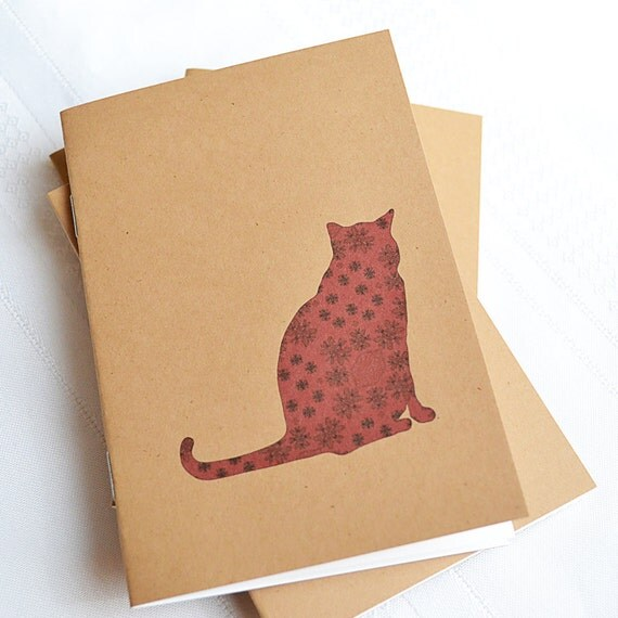 Little Notebooks Kraft Brocade Cat - Set of 2 Pocket Notebooks