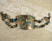 "Altered Metal Cuff with Butterfly Bracelet - ""Azure Butterfly"""