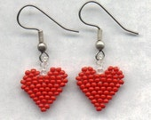 Valentines Beaded Red Heart Seed Beads Earrings