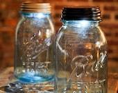 Vintage Blue Ball Jar with Solar Lid