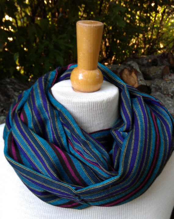 Hand woven Egyptian cotton scarf striped multi-colored
