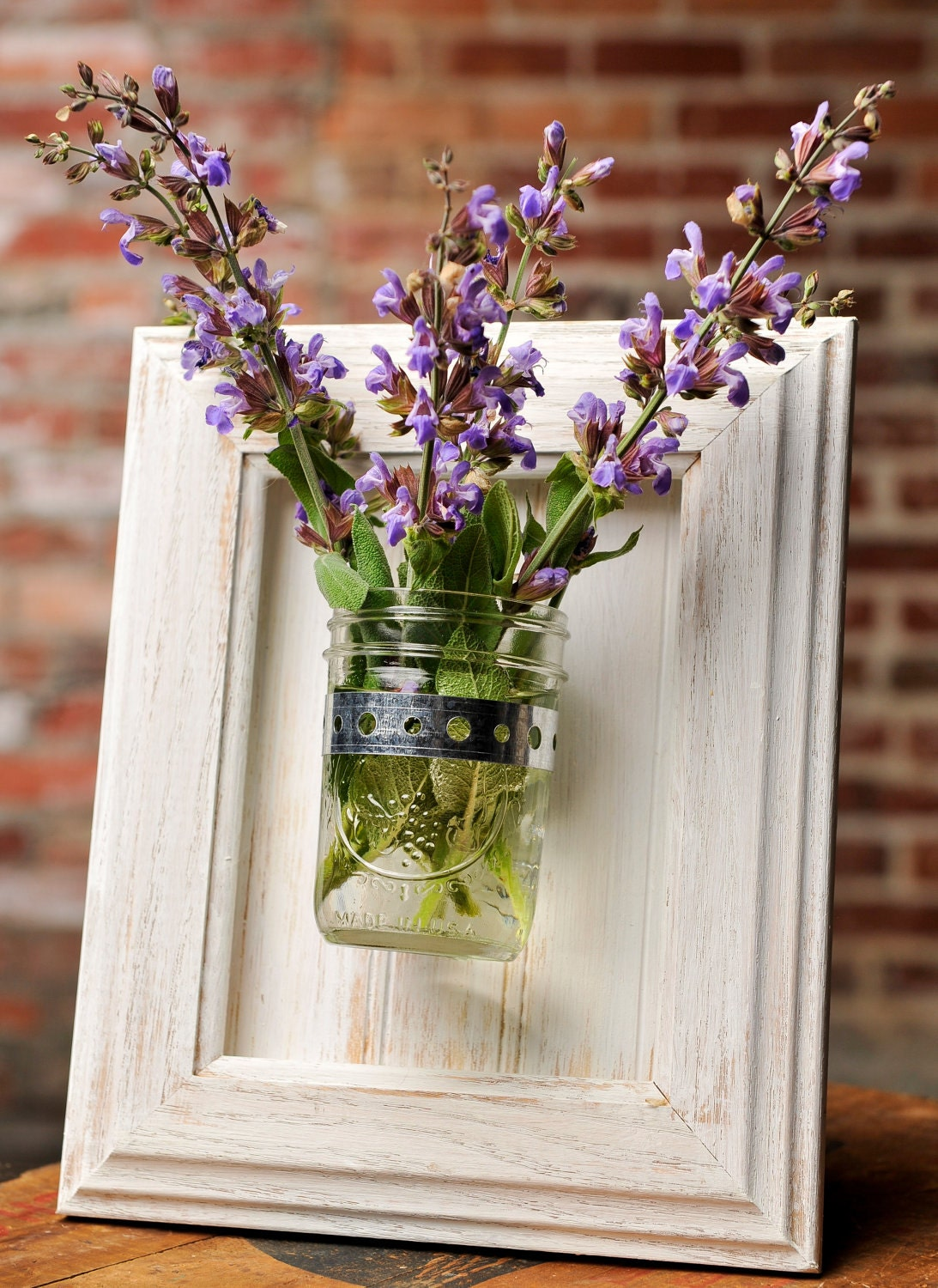Framed Mason Jar Wall Sconce Rustic White Flower Plant