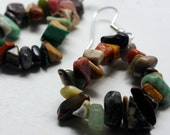 Natural Mixed Stone Loop Earrings