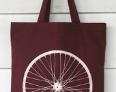 Large Bicycle Wheel Screen Print Cranberry Tote Bag
