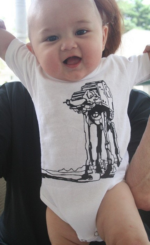 Star Wars Baby Gift AtAt Walker  American Apparel Baby Onesie in White
