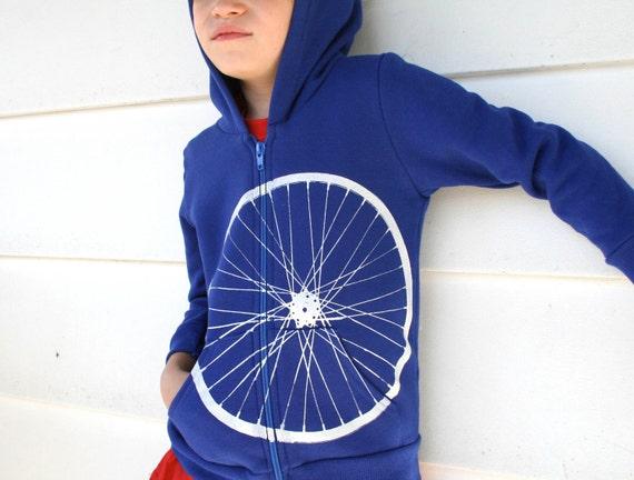 Giant Bicycle Wheel Screen Print American Apparel Lapis Blue Zipper Hoodie for Kids