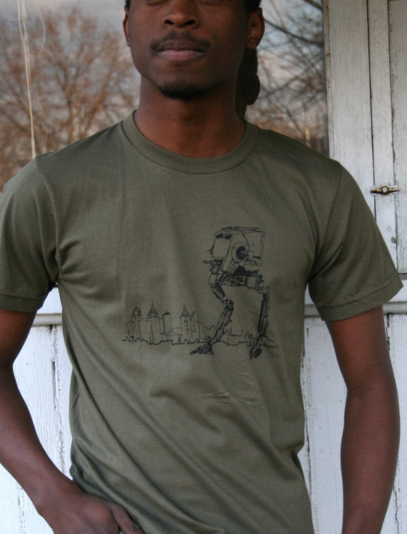 Star Wars AT-ST Walker Takes on Philly, Men's Army American Apparel Tee Shirt