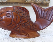 Vintage Hand Carved Wood Fish Statue, Beach Decor, Koi, Goldfish